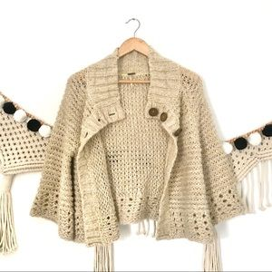 FREE PEOPLE Metallic Crochet Knit Chunky Cardigan